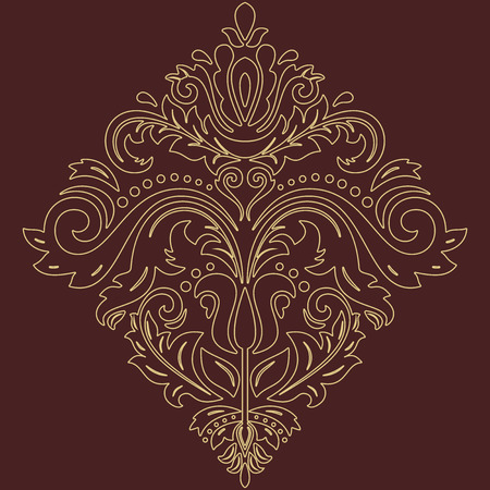 laced: Elegant vector ornament in the style of barogue. Abstract traditional pattern with golden outlines