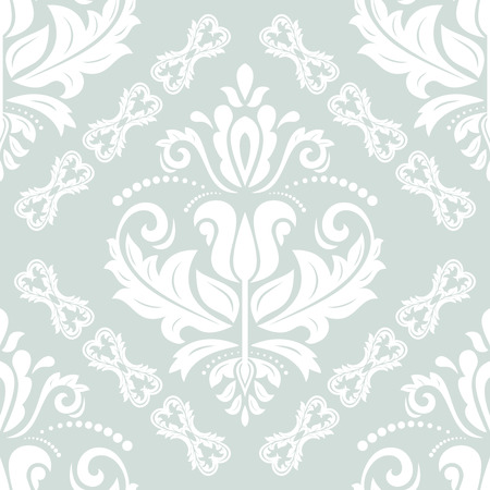 ight: Damask vector classic ight blue and white pattern. Seamless abstract background with repeating elements Illustration