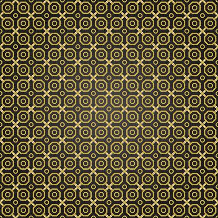 octagonal: Geometric fine abstract vector octagonal background. Seamless modern black and golden pattern