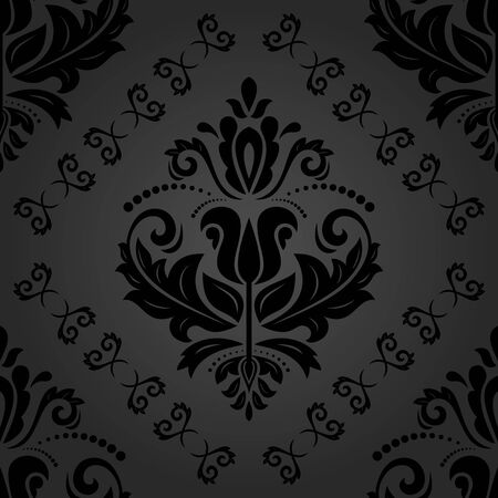 orient: Seamless damask vector dark pattern. Traditional classic orient ornament