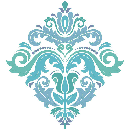 Oriental vector square pattern with arabesques and floral elements. Traditional classic ornament