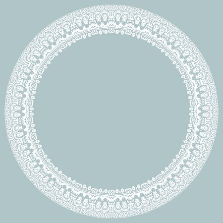 Oriental Round Frame With Arabesques And Floral Elements. Floral ...