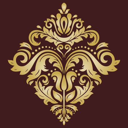 Elegant vector golden square ornament in the style of barogue. Abstract traditional pattern with oriental elements