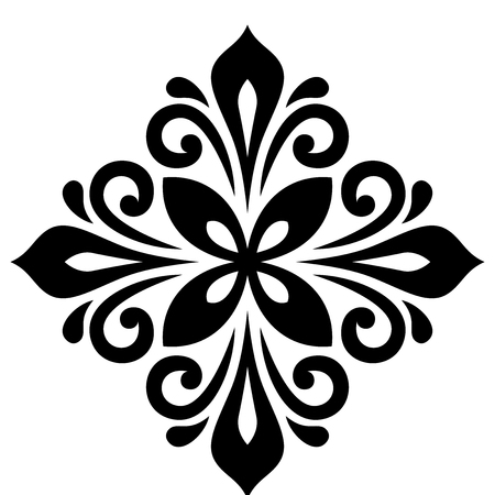 Oriental pattern with arabesques and floral elements. Traditional classic ornament. Black and white pattern Stock Photo