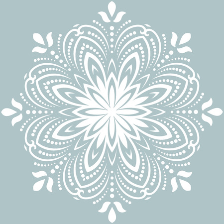 Elegant vector round white ornament in the style of barogue. Abstract traditional pattern with oriental elements