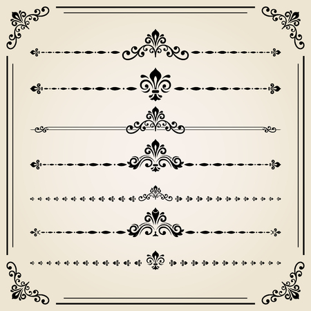 separators: Vintage set of decorative elements. Horizontal separators in the frame. Collection of different ornaments