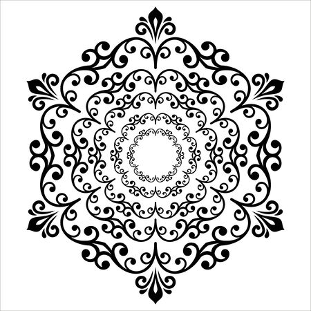 Elegant vector black round ornament in the style of barogue. Abstract traditional pattern with oriental elements Illustration