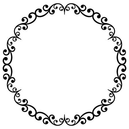 noir vecteur oriental et blanc cadre rond avec des arabesques et éléments floraux. fine bordure florale. Carte de voeux avec place pour le texte Vecteurs