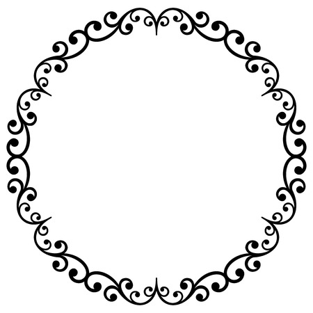 Oriental vector black and white round frame with arabesques and floral elements. Floral fine border. Greeting card with place for text Vettoriali