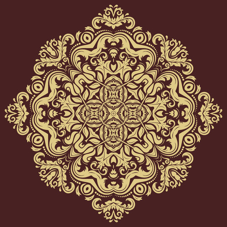 Oriental vector golden pattern with arabesques and floral elements. Traditional classic ornament Иллюстрация