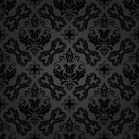 orient: Seamless baroque vector dark pattern. Traditional classic orient ornament