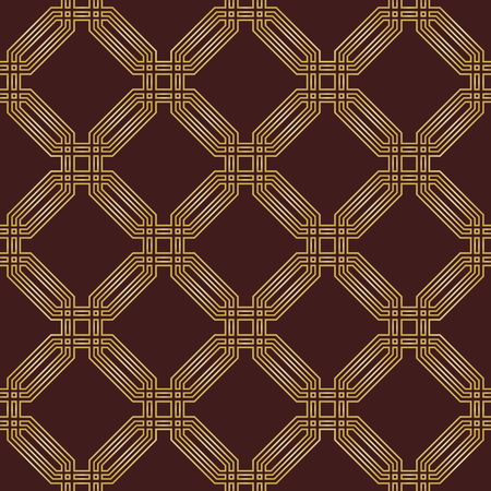 octagonal: Geometric fine abstract vector golden octagonal background. Seamless modern pattern
