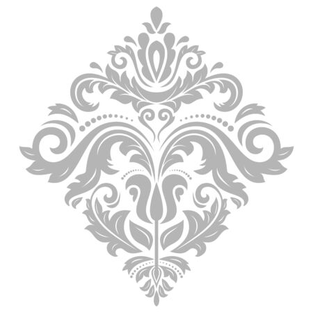 Elegant vector silver ornament in the style of barogue. Abstract traditional pattern with oriental elements Illustration