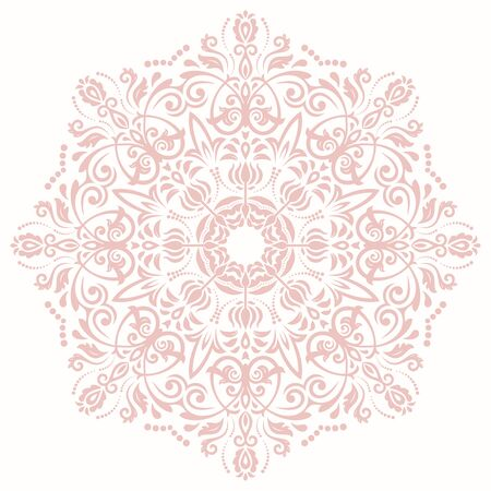 laced: Elegant vector pink round ornament in the style of barogue. Abstract traditional pattern with oriental elements Illustration