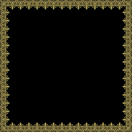 Classic vector square frame with golden arabesques and orient elements. Abstract fine ornament with place for text