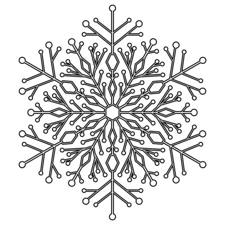 fine weather: Round vector snowflake. Abstract winter black and white ornament Illustration