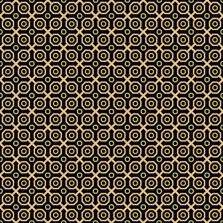 octogonal: Geometric fine abstract octagonal background. Seamless modern pattern. Black and golden pattern