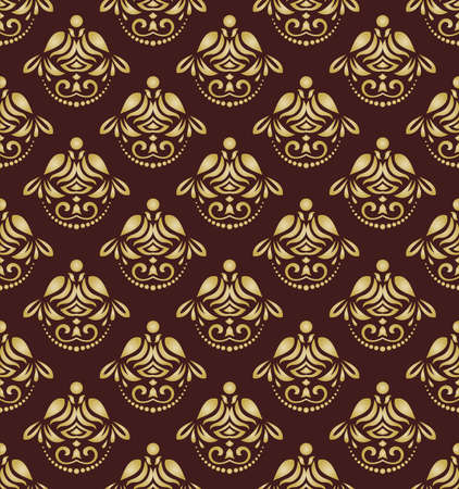 orient: Seamless baroque vector golden pattern. Traditional classic orient ornament