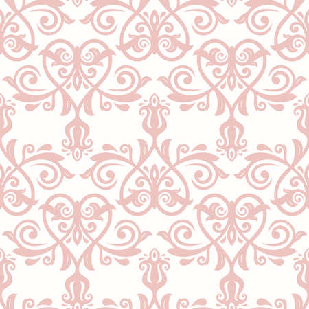 orient: Seamless pink baroque vector pattern. Traditional classic orient ornament