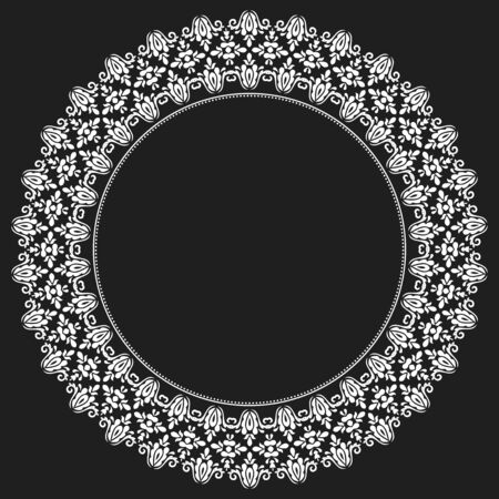Elegant vector white round ornament in the style of barogue. Abstract traditional pattern with oriental elements