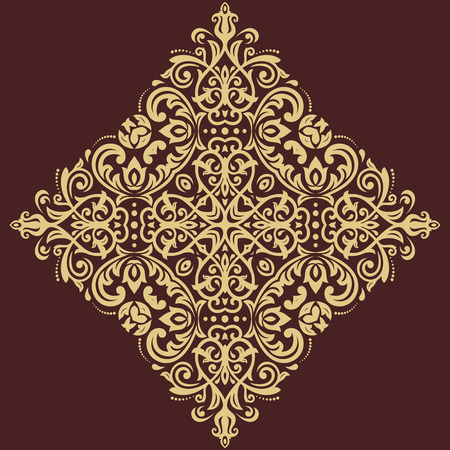 old frame: Oriental vector pattern with arabesques and floral elements. Traditional classic ornament