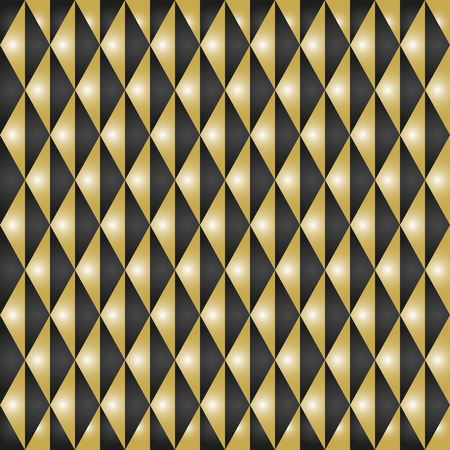 Geometric pattern with triangles. Seamless abstract background. Black and golden pattern Stock Photo