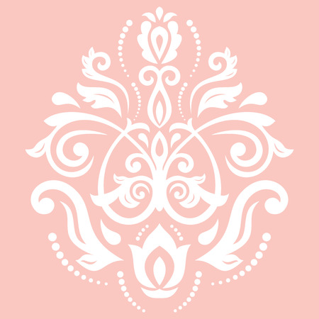 Elegant vector white ornament in classic style. Abstract traditional pattern with oriental elements