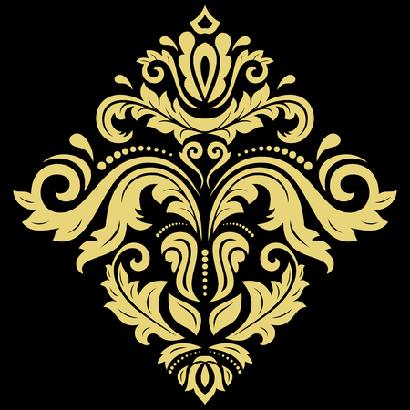 laced: Elegant vector square golden ornament in classic style. Abstract traditional pattern with oriental elements