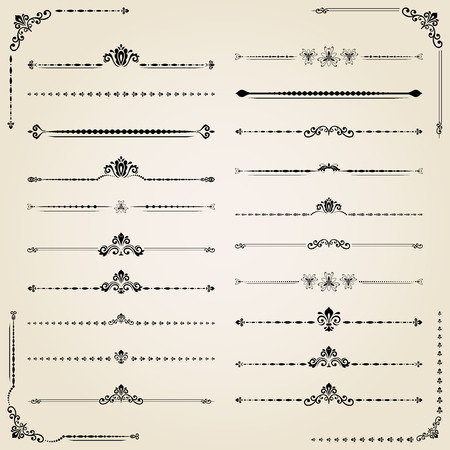 separators: Vintage set of decorative black elements. Horizontal separators in the frame. Collection of different ornaments