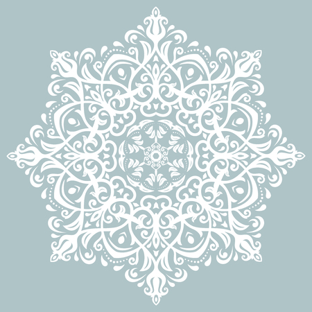 Elegant vector white round ornament in classic style. Abstract traditional pattern with oriental elements Illustration