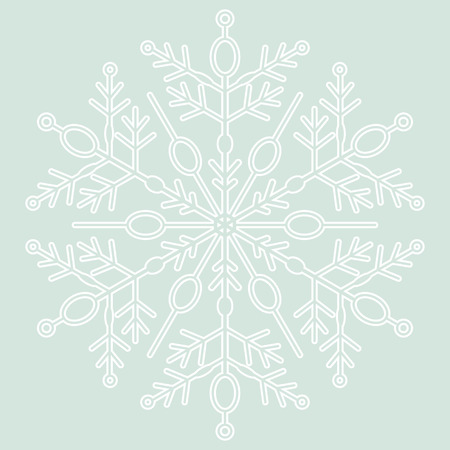 fine weather: Round vector snowflake. Abstract winter blue and white ornament Illustration
