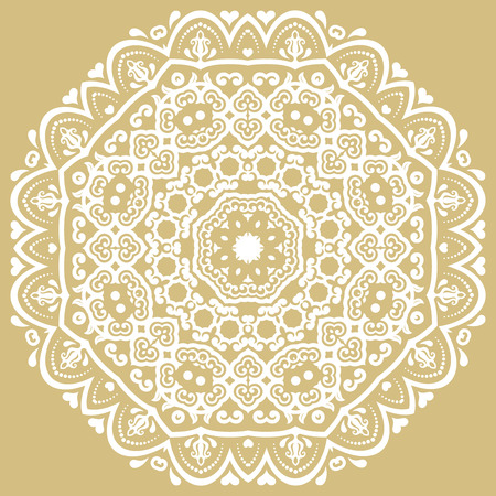 laced: Elegant vector round white ornament in classic style. Abstract traditional pattern with oriental elements