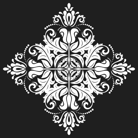 Elegant vector black and white ornament in classic style. Abstract traditional pattern with oriental elements