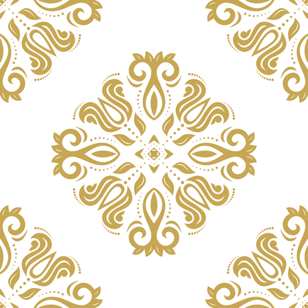 orient: Seamless classic vector white and golden pattern. Traditional orient ornament