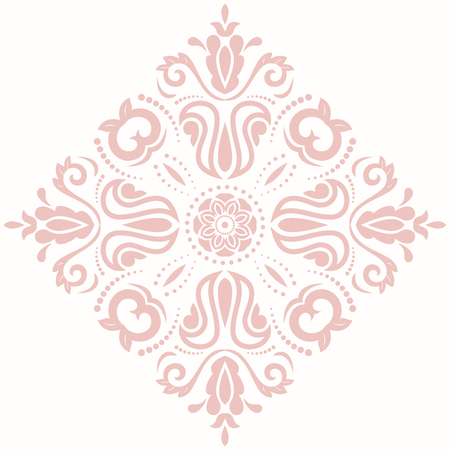 Oriental vector pink pattern with arabesques and floral elements. Traditional classic ornament