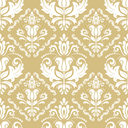 orient: Seamless classic vector golden and white pattern. Traditional orient ornament