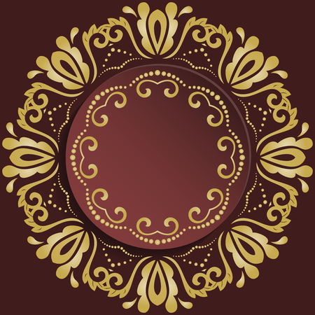 Nice vector frame with floral elements and arabesques. Brown and golden greeting card