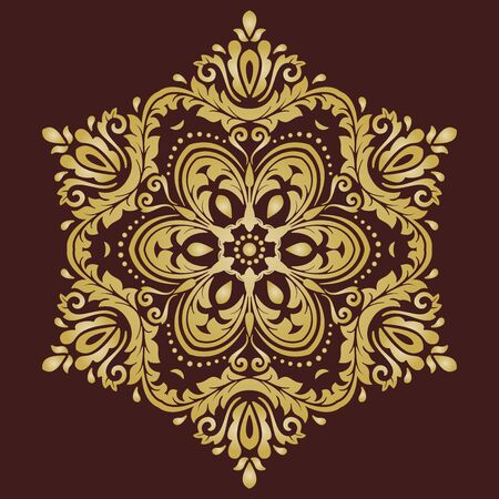 Elegant vector brown and golden ornament in classic style. Abstract traditional pattern with oriental elements