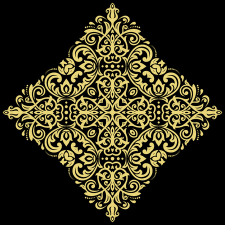 Oriental vector golden square pattern with arabesques and floral elements. Traditional classic ornament Illustration