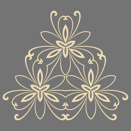 Floral pattern with fine arabesques. Abstract oriental ornament. Gray and giolden pattern Stock Photo