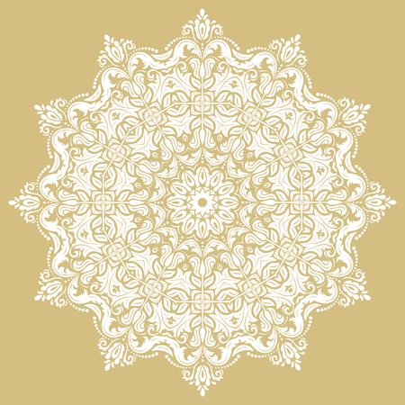 Oriental vector round white pattern with arabesques and floral elements. Traditional classic ornament. Vintage pattern with arabesques
