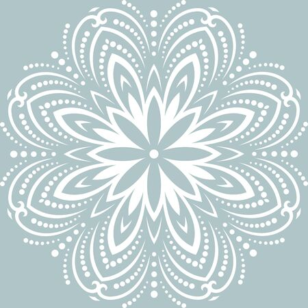 Round vector snowflake. Abstract winter ornament. Fine white snowflake