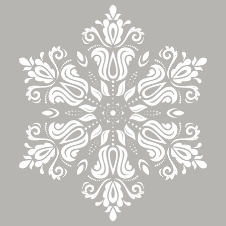Elegant white ornament in classic style. Abstract traditional pattern with oriental elements, Classic vintage pattern