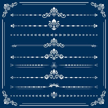 separators: Vintage set of horizontal white decorative elements. Horizontal separators in the frame. Collection of different ornaments. Classic patterns. Set of vintage patterns