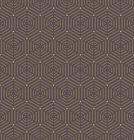 octagonal: Geometric repeating vector ornament with octagonal dotted golden elements. Geometric abstract ornament. Seamless abstract modern pattern Illustration