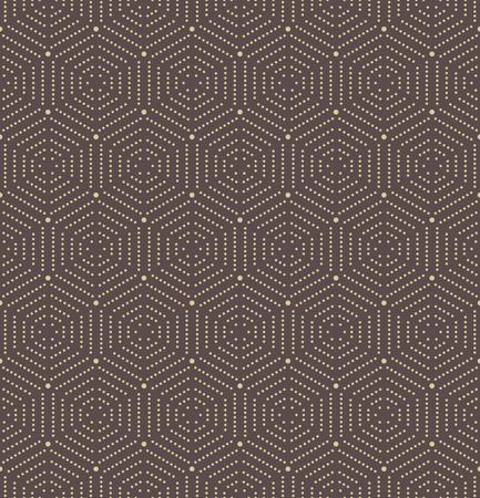 octogonal: Ornamento geométrico de repetición del vector con los elementos de oro de puntos octogonales. ornamento abstracto geométrico. modelo moderno abstracto inconsútil