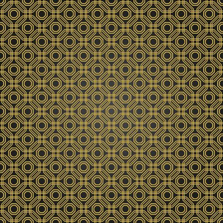 fine print: Geometric fine abstract vector octagonal background. Geometric abstract ornament. Seamless modern black and golden pattern