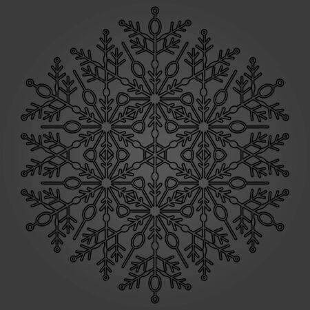 fine: Round vector black snowflake. Abstract winter ornament. Fine snowflake