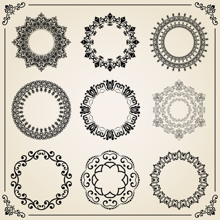 Vintage Set Of Elements. Different Vector Round Elements For ...