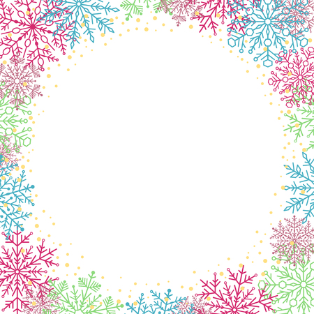 colrful: Winter vector frame with colorful arabesques and snowflakes. Fine greeting card. Pattern with snowflakes